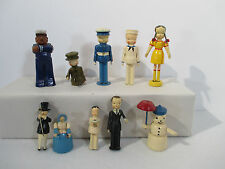 Figurines People Soldier Sailor Girl Snowman Wooden Miniature Vtg 1950 Lot of 10