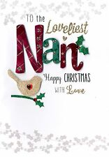 Loveliest Nan Embellished Christmas Card Hand-Finished Festive Cheer Cards