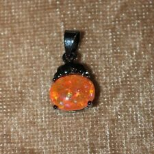 orange fire opal necklace pendant gemstone silver jewelry delicate cocktail H6