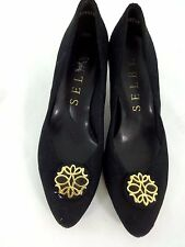 SELBY WOMENS BLACK SUEDE FABRIC PUMPS SIZE 6.5 US