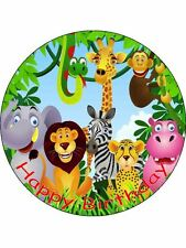 "7.5"" Jungle Animals Personalised Edible ICING Cake Topper Decoration"
