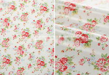 Oilcloth Fabric Homeware Craft Medium Floral White Retro Style Shabby Chic FQ