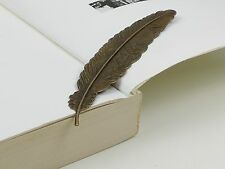 New Vintage Bronze Copper Feather Bookmark Label Stationery Antique Book Marker