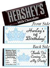 12 Prince Crown Birthday Party Baby Shower Christening Hershey Candy Bar Wrapper