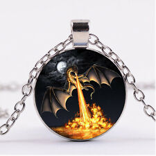 Cabochon glass necklace Silver charms pendant(moon&Dragon)