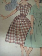 Vintage 1950s Butterick 9261 CONVERTIBLE COLLAR DRESS Sewing Pattern Women Sz 11