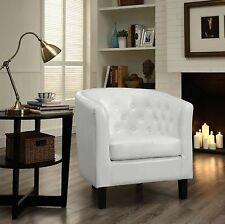 Leather Accent Chair Modern White Contemporary Tufted Club Lounge Chaise Faux