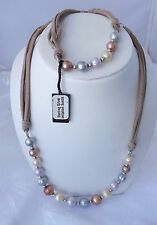 HONORA  STERLING SILVER  10-11MM RINGED PEARL NECKLACE ON BEIGE SUEDE CORD SET