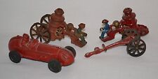 Antique Vintage Lot CAST IRON TOYS for PARTS or REPAIR Fire Wagons Race Car