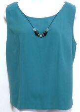 Koret Ladies Teal Polyester Sleeveless Shirt with attached Necklace Size 16