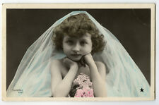 c 1907 Chldren Child  Cute LITTLE GIRL tinted French Tinted photo postcard