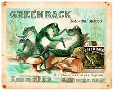 Vintage Barber Shop Frogs Greenback Smoking Tobacco Metal Sign Advertising BS015