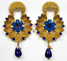 Designer Gold Plated Stone Kundan Party Fashion Ethnic Necklace Earrings Set