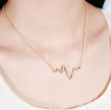 Fashion Simple Retro Golden Wave ECG Heart Beat Shape Pendant Choker Necklace