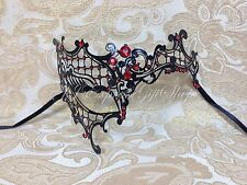 Black Phantom Laser Cut Half Venetian Masquerade Halloween Mask w/Red Rhinestone