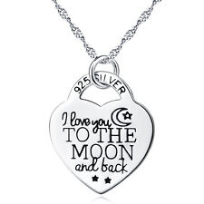 """I LOVE YOU TO THE MOON AND BACK"" 925 Sterling Silver Heart Shape Necklace 18"""