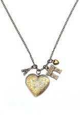 Paris Eiffel Tower Heart Locket Arc de Triomphe Long Necklace