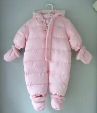 The Childrens Place Pink Puffer Snowsuit 1 Pc Hood Snap Mittens Booties 3-6 Mos