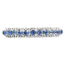 Light sapphire diamante rhinestone sparkly bracelet prom bridal jewellery 0077