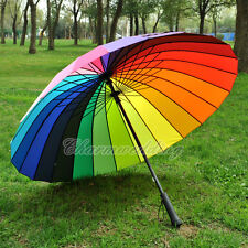 Colorful Rainbow Umbrella Outdoor Wedding Bridal Party Rain Parasol Windproof
