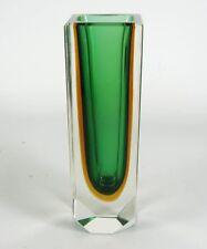 Murano Glas Vase 60er 70er Jahre Design Blockvase Venetian Glass Italy 14,9cm