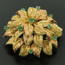 Vintage 18k Green and Rose Gold Layered Textured Emerald Large Brooch Pin