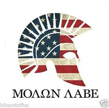 MOLON LABE AMERICAN FLAG GREEK SPARTAN STICKER WITH WITHE BACKGROUND