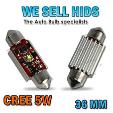 2x 5w CREE CANBUS OBC ERROR FREE VW Skoda ,SEAT C5W 36mm Number Plate Led White