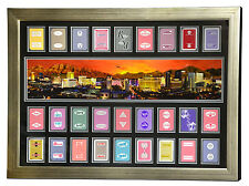 LAS VEGAS HOTELS AUTHENTIC 27 PLAYING CARDS COLLAGE FRAMED #D/100 PANO PHOTO