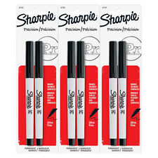 Sharpie Permanent Markers, Ultra Fine Point, Black Ink, Pack of 6 (37161)