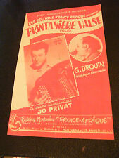 Partition Printanière Valse Jo Privat G Drouin 1958