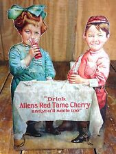 Young Boy Girl Drinking Allens Red Tame Cherry Soda Pop Cardboard Counter Sign