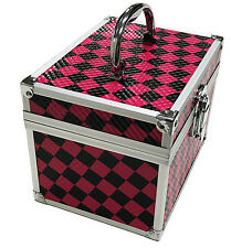 Pink Checked Beauty Cosmetic Box Make Up Vanity Case Nail Tech Hair Salon Bag