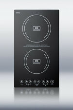 "Summit SINC2220 Smoothtop Electric 12"" Induction Cooktop 2 Zones 220 Volt Black"