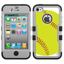 Hybrid 3-Layer Case for Apple iPhone 4 4S (Grey/Black) - Green Softball