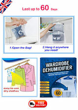 4x Hanging Wardrobe DEHUMIDIFIER Stop Moisture Remover Damp Interior Home Office