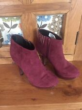 Ladies Faux Suede Ankle Boots With Heel Size 4/37 New Laura Scott