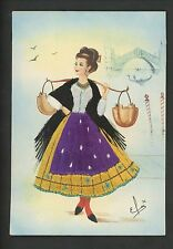 Embroidered clothing postcard Artist Elsi Gumier, Italy, Venezia, woman