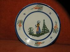 """VINTAGE HB QUIMPER FRENCH FAIENCE 6 1/4"""" PLATE"""