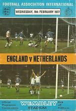 Football Programme - England v Netherlands - 1977