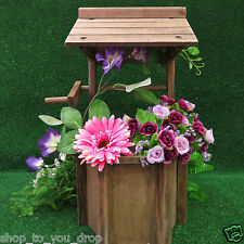 Wooden Wishing Well Planter Pot Garden Flowers Decor Patio Water Fully Assembled