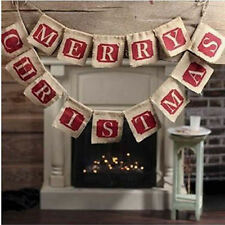 MERRY CHRISTMAS Burlap Hessian Bunting Banner Flags Vintage Xmas Party Decor