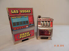Pair of play toy slot machine Nevada Buckaroo Bank Las Vegas Draw Poker