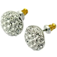 Sparkly white gold finish clear studs 12mm quality dress jewellery UK seller