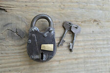 SMALL ANTIQUE STYLE HANDMADE IRON PADLOCK WITH 2 KEYS CHEST LOCK BOX LOCK AP2