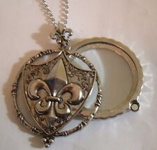 "2"" SILVER PENDANT NECKLACE FLEUR DE LIS MANGIFYING MAGNIFY GLASS FRENCH ORLEANS"