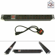 "19"" 6 Way Detachable Power Strip UK Extension PDU Data IEC Rack Cabinet Mount"