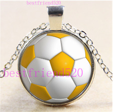 Yellow Soccer Ball Photo Cabochon Glass Tibet Silver Chain Pendant Necklace#O6P