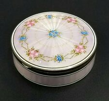 ANTIQUE STERLING SILVER GUILLOCHE ENAMEL BOUDIOR TABLE BOX GEO STOCKWELL ENGLISH