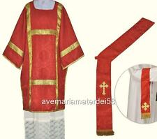 Red Deacon Dalmatic Vestment Set with Stole and Maniple S,M,L,Regular Sizes